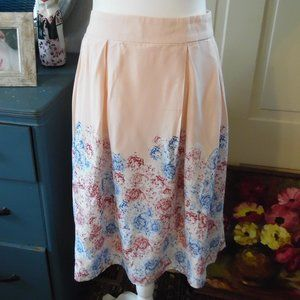Skirt Pleated Blush Pink Floral Skirt size 12 NWT